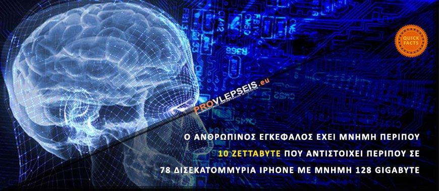 Ο ανθρώπινος εγκέφαλος έχει μνήμη περίπου 10 Zettabyte που αντιστοιχεί περίπου σε 78 δισεκατομμύρια iphone με μνήμη 128 gigabyte
